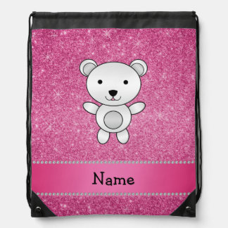 Personalized name polar bear pink glitter drawstring backpacks