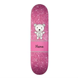 Personalized name polar bear pink glitter skate decks
