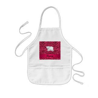 Personalized name polar bear pink leopard print apron