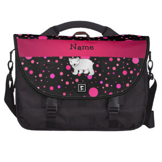 Personalized name polar bear pink polka dots laptop commuter bag