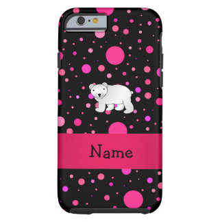 Personalized name polar bear pink polka dots tough iPhone 6 case