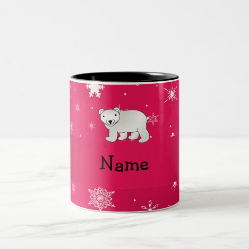 Personalized name polar bear pink snowflakes coffee mugs