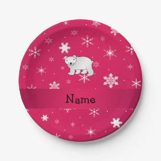 Personalized name polar bear pink snowflakes paper plate