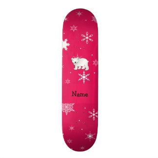 Personalized name polar bear pink snowflakes skateboard deck