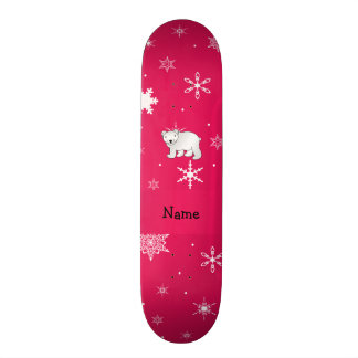 Personalized name polar bear pink snowflakes skateboards