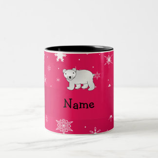 Personalized name polar bear pink snowflakes Two-Tone coffee mug