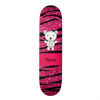 Personalized name polar bear pink zebra stripes skate board decks