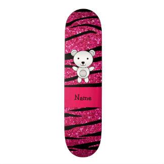 Personalized name polar bear pink zebra stripes skateboard decks
