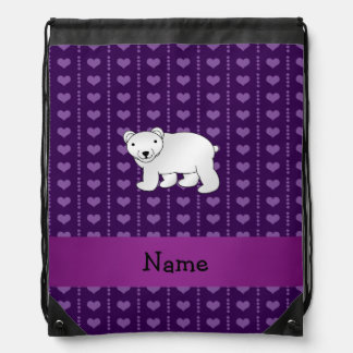 Personalized name polar bear purple hearts drawstring bags