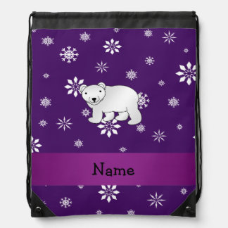 Personalized name polar bear purple snowflakes backpack