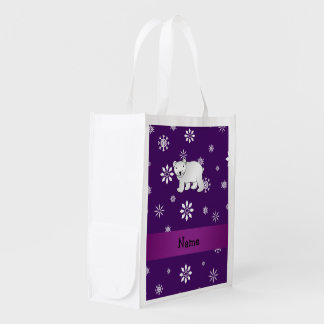 Personalized name polar bear purple snowflakes grocery bag