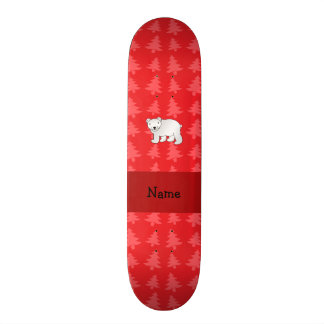 Personalized name polar bear red christmas trees skate deck