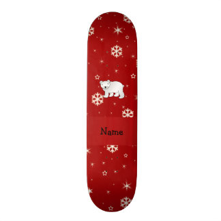 Personalized name polar bear red snowflakes skate board deck