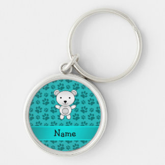 Personalized name polar bear turquoise paw pattern Silver-Colored round keychain