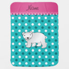 Personalized name polar bear turquoise white dots baby blanket