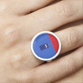 Personalized name police box blue polka dots ring
