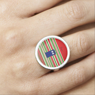 Personalized name police box red green stripes rings
