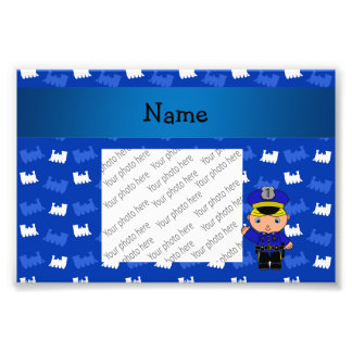 Personalized name policeman blue trains photo