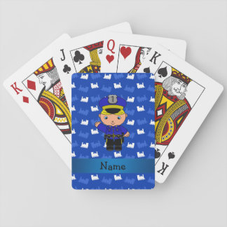 Personalized name policeman blue trains poker deck