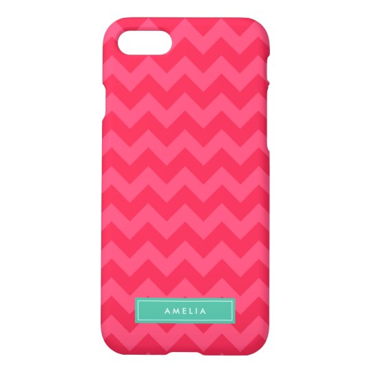 Personalized Name Preppy Pink Chevron Monogram iPhone 7 Case