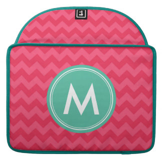 Personalized Name Preppy Pink Chevron Monogram Sleeves For MacBook Pro