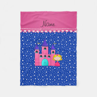 Personalized name princess castle blue stars fleece blanket