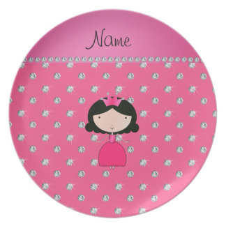 Personalized name princess pink diamonds plate