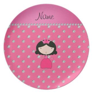 Personalized name princess pink diamonds plates