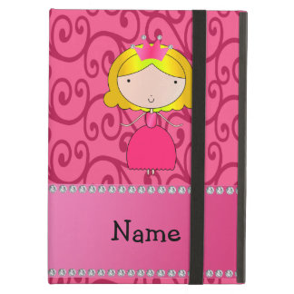 Personalized name princess pink swirls iPad air cover