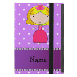 Personalized name princess purple polka dots iPad mini case