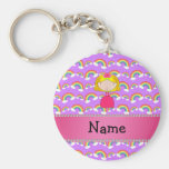Personalized name princess purple rainbows basic round button keychain
