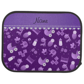 Personalized name purple baby animals car floor carpet