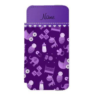 Personalized name purple baby animals incipio watson™ iPhone 5 wallet case