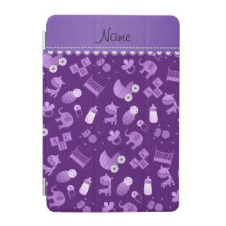 Personalized name purple baby animals iPad mini cover