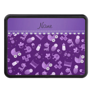 Personalized name purple baby animals trailer hitch covers
