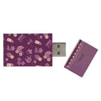 Personalized name purple baby animals wood USB 2.0 flash drive
