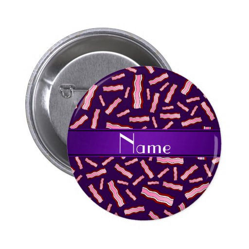 Personalized name purple bacon pattern buttons