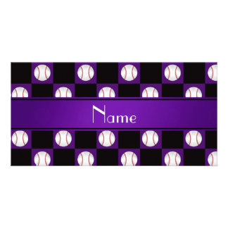 Personalized name purple baseball checkers customized photo card