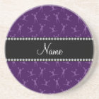 Personalized name purple cheerleader pattern coaster