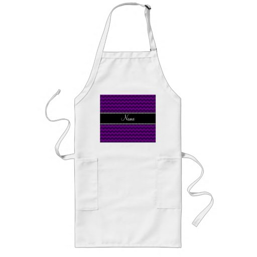 Personalized name purple chevrons aprons