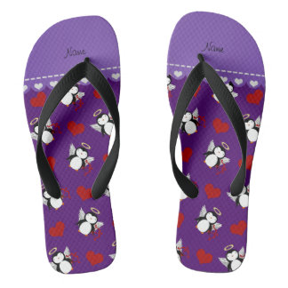 Personalized name purple cupid penguins red hearts flip flops
