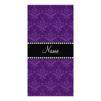 Personalized name Purple damask Custom Photo Card