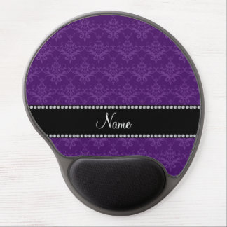 Personalized name Purple damask Gel Mouse Pad