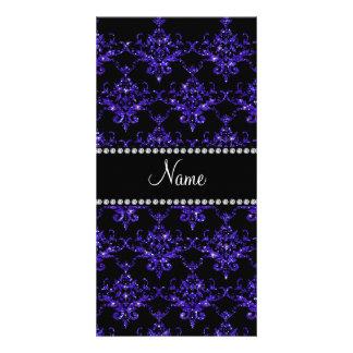 Personalized name purple damask glitter custom photo card