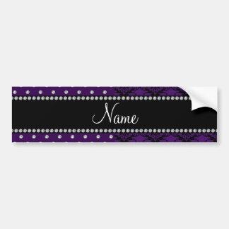 Personalized name purple damask purple diamonds bumper sticker
