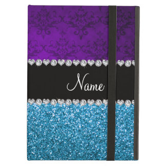 Personalized name purple damask sky blue glitter iPad air covers