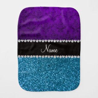 Personalized name purple damask sky blue glitter burp cloth
