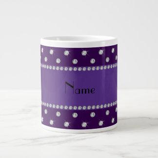 Personalized name purple diamonds jumbo mug