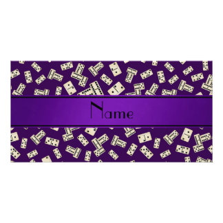 Personalized name purple dominos custom photo card