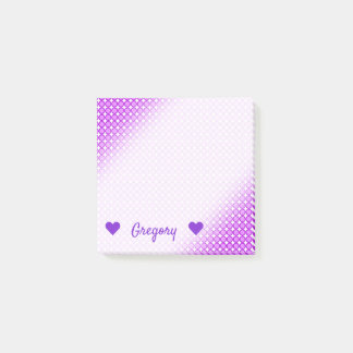 Personalized Name + Purple Dots/Circles Pattern Post-it Notes